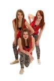 trio för flygtur för dansflickahöft tonårs- Arkivfoton