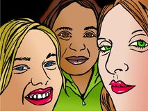 Trio of friends royalty free illustration
