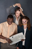 Trio of funny looking people. Computer geek, salesman combing his hair and a cross-eyed nerd Royalty Free Stock Photo