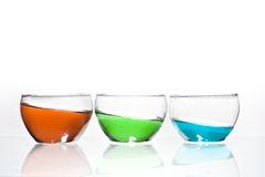 Trio of glasses with liquid Royalty Free Stock Image