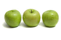 Trio of green apples Royalty Free Stock Image