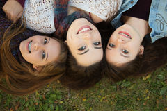 Trio of Happy Girlfriends stock image