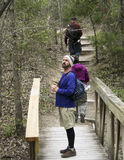 A Trio of Hikers at Cedar Ridge Preserve Royalty Free Stock Photography