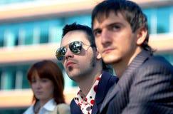 Trio infeliz do negócio fotografia de stock
