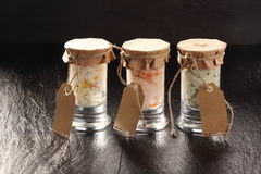 Trio of Jars Filled with Savory Sauces Royalty Free Stock Photography