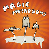 Trio magic mushrooms Royalty Free Stock Images