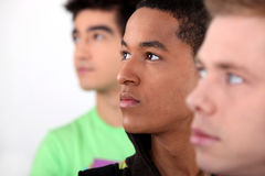 Trio of male friends Stock Images