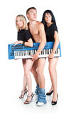 A trio of musicians with no pants Stock Image
