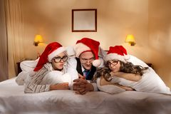 Trio on New Year's night Royalty Free Stock Photography