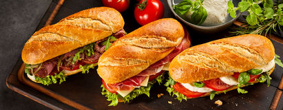 Free Trio Of Three Fresh Sandwiches Stock Photo - 89503430