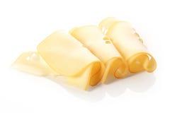 Trio ordenadamente rolado de fatias do queijo do emmental Imagens de Stock Royalty Free