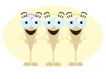 Trio pazzo del gelato Fotografia Stock Libera da Diritti
