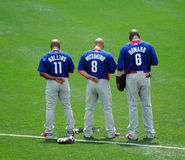 Trio of Phillies all-stars. LAKE BUENA VISTA, FL - MARCH 24: Philadelphia Phillies stars Jimmy Rollins, Shane Victorino, and Ryan Howard (l-r) stand with heads stock photography