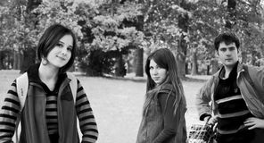 Trio portrait. Three persons on photo, made in Uman National Park, Ukraine Stock Photography