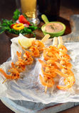 Trio of prawn or shrimp skewers Stock Image