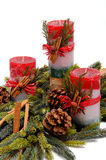 Trio of round Christmas Candles Stock Image