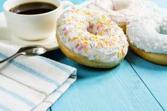 Trio round sweet donuts Stock Photos