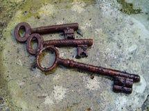 Trio of rusty keys. A trio of rusty keys stock images