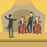 Trio With Saxophone And Two Cellos  Their Director Performing Stock Images