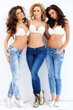 Trio of sexy shapely women in jeans and bras. Trio of sexy shapely beautiful young women in jeans and bras posing seductively arm in arm on a white studio Stock Photography