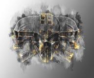 Trio of skulls - glowing gold edges stock illustration