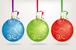 Trio Swirly Christmas Ornaments Stock Photo