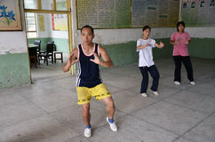 Trio taiji master. Taiji master in a Chinese school near Jiaouzuo city, Henan provence Royalty Free Stock Photo