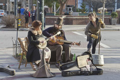Trio of Talented Street Musicians Royalty Free Stock Image