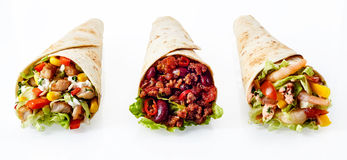 Trio of Tex Mex Fajita Wraps with Various Fillings Royalty Free Stock Photography