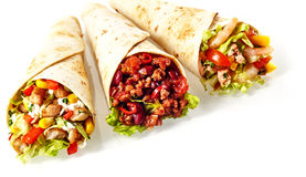 Trio of Tex Mex Fajita Wraps with Various Fillings Royalty Free Stock Images