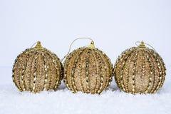 Trio van Gouden Ornamenten royalty-vrije stock afbeelding