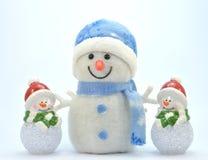 Trio van sneeuwman with0 Stock Fotografie