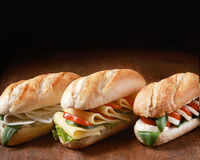Trio of vegetarian baguettes Royalty Free Stock Photography