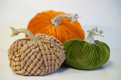 Trio of velvet pumpkins - detail Stock Image