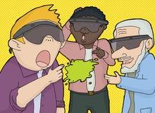 Trio von den Männern, die mit virtueller Realität schauen Stockfoto