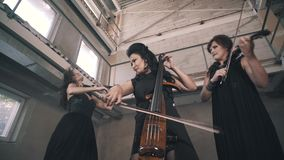 A trio of young violinists play in an unfinished room. The women play for the camera. The camera shoots from low angle stock video