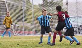 A Trio of Youth Soccer Players Compete Royalty Free Stock Image