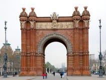 Triomfantelijke boog in Barcelona, Spanje Stock Fotografie