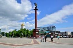 Triomfantelijke kolom in het centrale vierkant Kaliningrad Stock Foto's