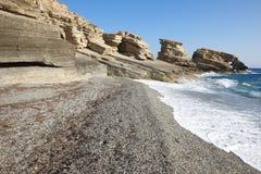 Triopetra Pebble Beach La mer Méditerranée La Grèce Photographie stock libre de droits