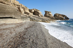 Triopetra pebble beach. Mediterranean sea. Greece Royalty Free Stock Photography