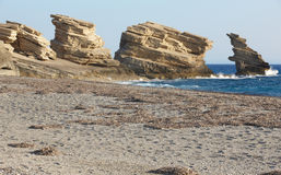 Triopetra pebble beach. Mediterranean sea. Greece Stock Photo