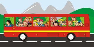 Trip. Children riding on a red bus tour. In the background are mountains Stock Image