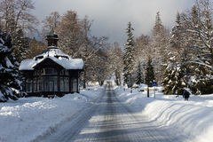 Trip. Road in winter the surrounding landscape Stock Photos
