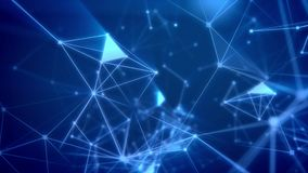 Trip through the Abstract cyberspace grid. Dreamlike 3d illustration of a fantasy cyberspace trip through light blue network with shimmering spots and lines Royalty Free Stock Images
