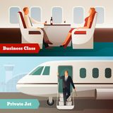 Trip On Airplane Horizontal Banners. With private jet and people in business class salon isolated vector illustration Stock Photos