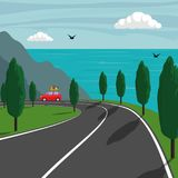 Trip along the mountainous shore of the sea. Cute small car rides on mountain road and the sea on background. Vector illustration. stock image