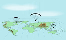 Trip around the world by paraglider Stock Photography