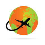 Trip around the world with the plane  Stock Image