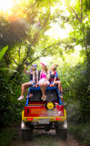 Trip of asian lady with 4WD car drive off road Royalty Free Stock Photos
